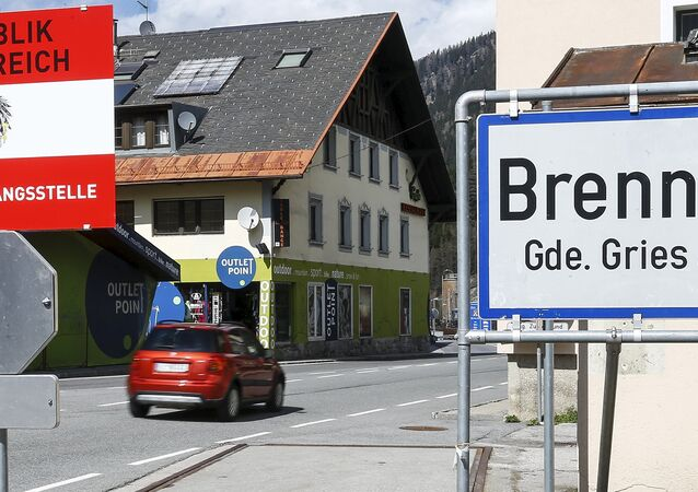 A sign reading Republic of Austria - border control is seen at Brenner on the Italian-Austrian border, Italy, April 12, 2016. Picture taken April 12, 2016.