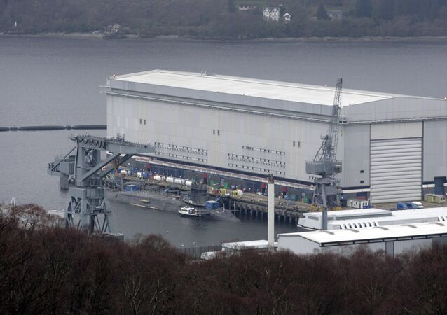 A trident submarine is pictured with a long lens at the Faslane naval base, Scotland (file)