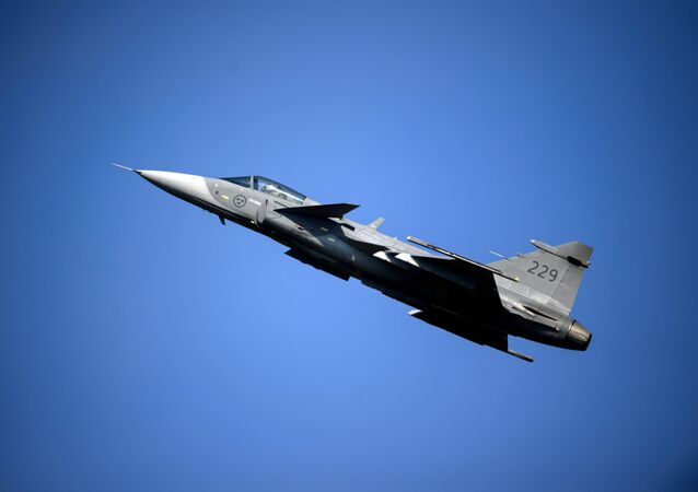 A Saab JAS 39 Gripen fighter jet