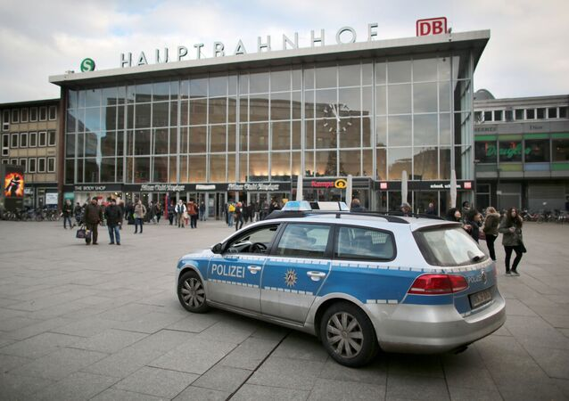 A police car passes the central railway station in Cologne, Germany. (File)
