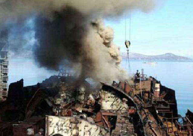 Russian Nuclear Submarine Docked for Scrapping at Vilyuchinsk in Kamchatka Burning