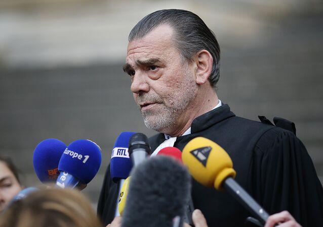 Frank Berton, lawyer of Paris attacks suspect Salah Abdeslam, speaks to the press at the Paris courthouse