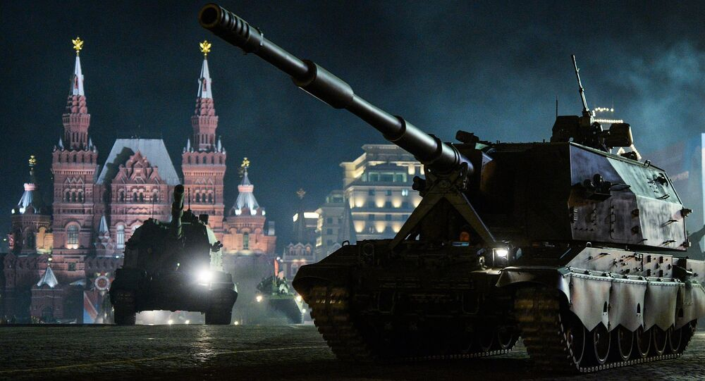 Koalitsiya-SV self-propelled howitzers at a rehearsal of a military parade in Moscow to mark the 71st anniversary of victory over Nazi Germany in the Second World War