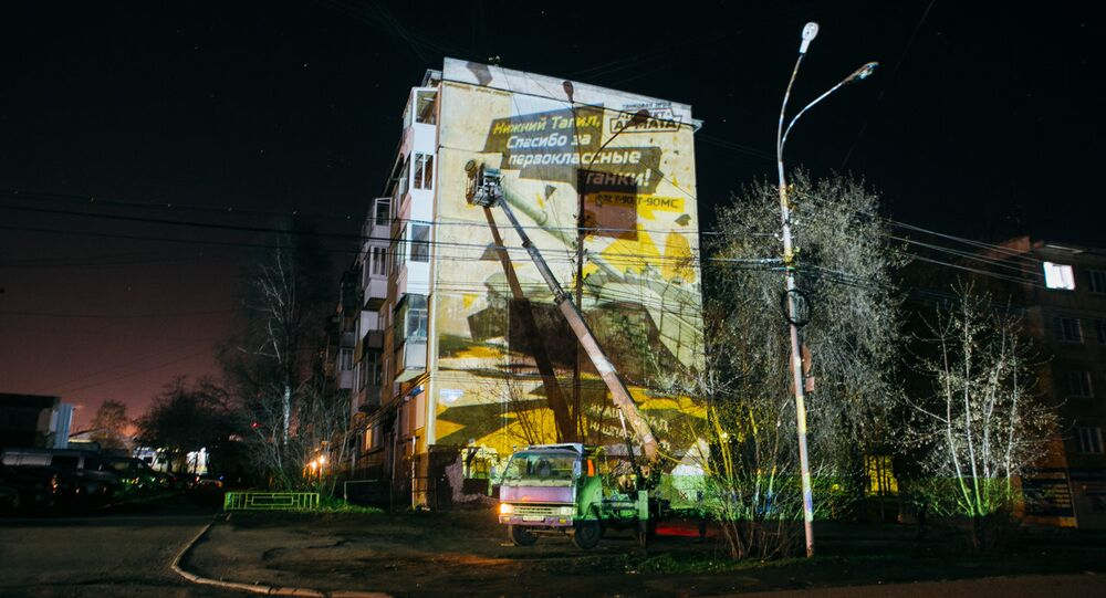 Huge images of sophisticated Russian tanks will appear on the facades of apartment buildings in a number of major Russian cities in the run-up to celebrations dedicated to the Allies' victory over Nazi Germany in the Second World War