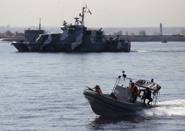 Rehearsing naval parade in Kronstadt. File photo