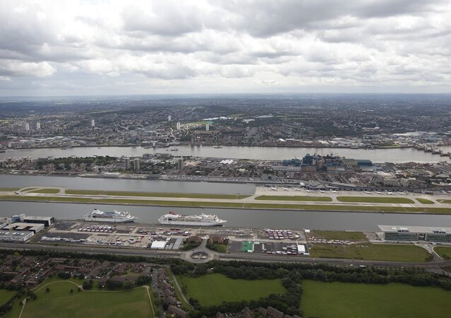 A general view from the air of the London City Airport in east London, Friday, July 13, 2012