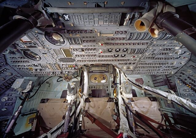 Apollo Command Module Interior. Apollo Command and Service modules were flown by the United States between 1966 and 1975