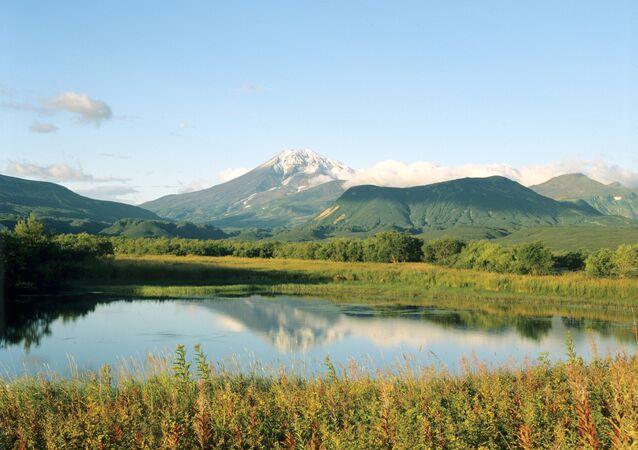 View of Kambalny Volcano (Kambalny Mount) on Kamchatka Peninsula