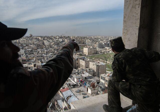 Syrian Arab Army troops in Aleppo