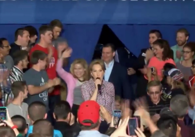 Vice Presidential Hopeful Carly Fiorina Trips Off Stage