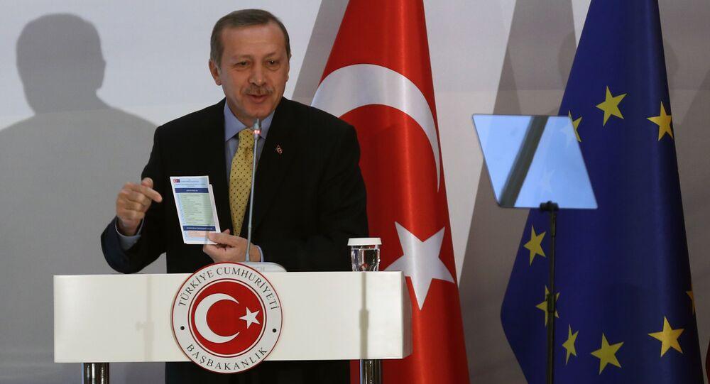 Turkish Prime Minister Recep Tayyip Erdogan speaks after the EU and Turkey signed agreements in Ankara, Turkey (File)