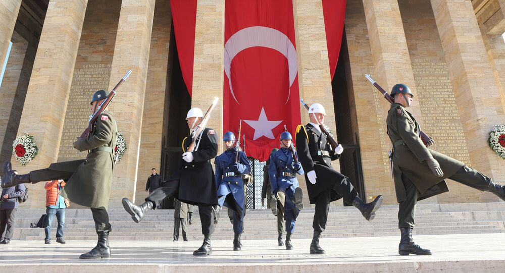 Soldiers parade outside the Anitkabir, the mausoleum of Mustafa Kemal Ataturk, founder of the Republic of Turkey