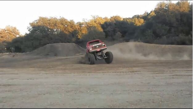 Truck Falls on its Side doing Donuts