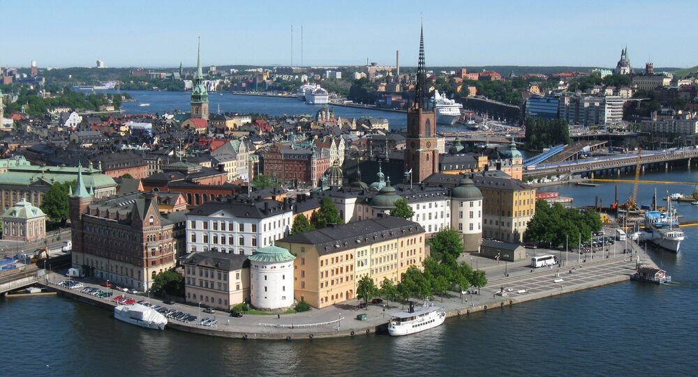 View of Riddarholmen from Stockholm's City Hall tower.