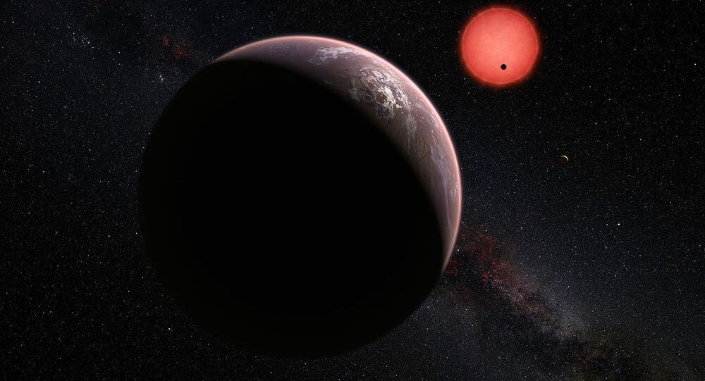 Download original file4000 × 2800 px jpg View in browser  You need to attribute the author  Show me how This artist's impression shows an imagined view of the three planets orbiting an ultracool dwarf star just 40 light-years from Earth that were discovered using the TRAPPIST telescope at ESO's La Silla Observatory.