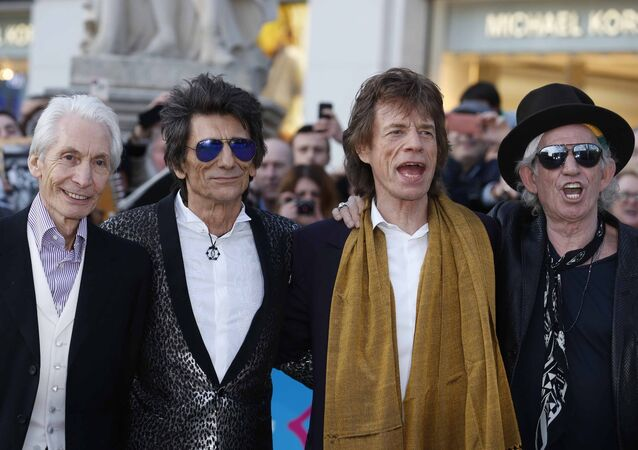 Members of the Rolling Stones (L-R) Charlie Watts, Ronnie Wood, Mick Jagger and Keith Richards.
