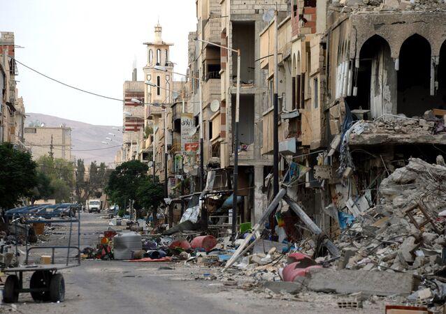 Destroyed buildings in Palmyra.