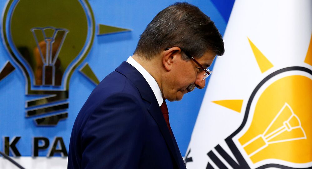 Turkish Prime Minister Ahmet Davutoglu leaves a news conference at his ruling AK Party headquarters in Ankara, Turkey May 5, 2016.