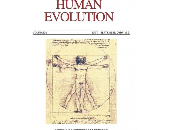 Cover of the special issue of the journal Human Evolution announcing the Leonardo Project.