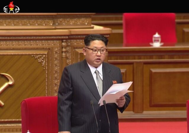 North Korean leader Kim Jong Un addresses the congress in Pyongyang, North Korea, Friday May 6, 2016.