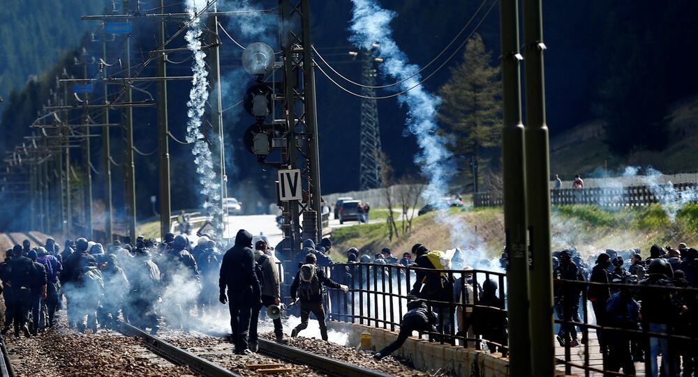 Demonstrators take part in a protest against a plan to restrict access through the Brenner Pass between Italy and Austria, in Brenner, Italy, May 7, 2016.