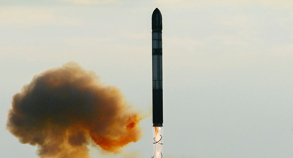 Launching an RS-20 Voyevoda (SS-18 Satan) intercontinental ballistic missile (File). The Voyevoda is a predecessor to the RS-28 Sarmat, presently under development.