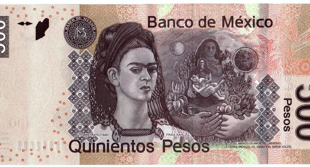 Mexico's 500 peso note shows muralist Diego Rivera on the front and his wife and fellow artist Frida Kahlo on the back.