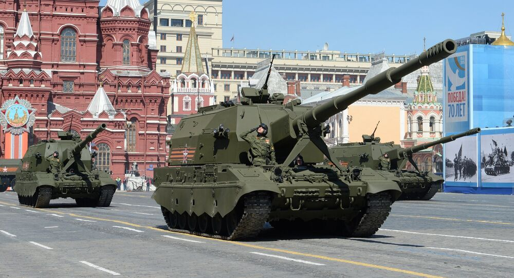 Coalition-SV class self-propelled howitzers at the final rehearsal of the military parade to mark the 70th anniversary of Victory in the 1941-1945 Great Patriotic War