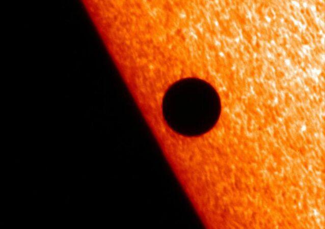 The Japanese satellite Hinode caught Mercury passing across the sun's face in November 2006