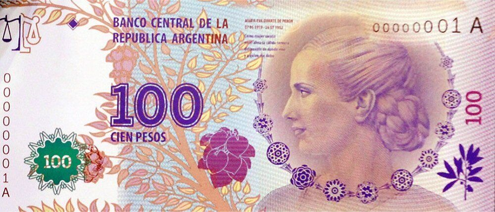 "Argentina's beloved former First Lady Eva Perón – widely known by her nickname ""Evita"" – appears on the current 100-peso bill."