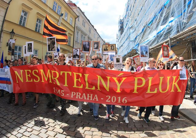Immortal Regiment patriotic initiative held in the Czech capital of Prague