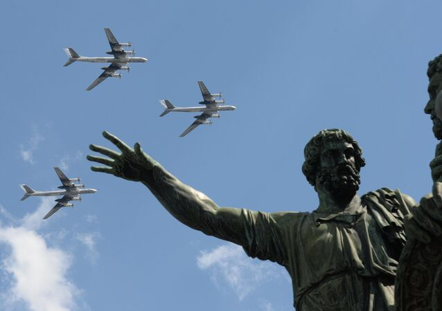 The Tu-95 bombers seen flying over Moscow's Red Square during the rehearsal of the May 9 Victory Day Parade