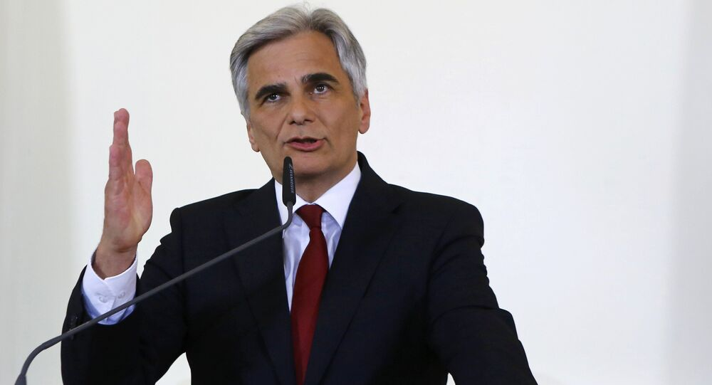 Austrian Chancellor Werner Faymann addresses a news conference in Vienna, Austria, May 9, 2016