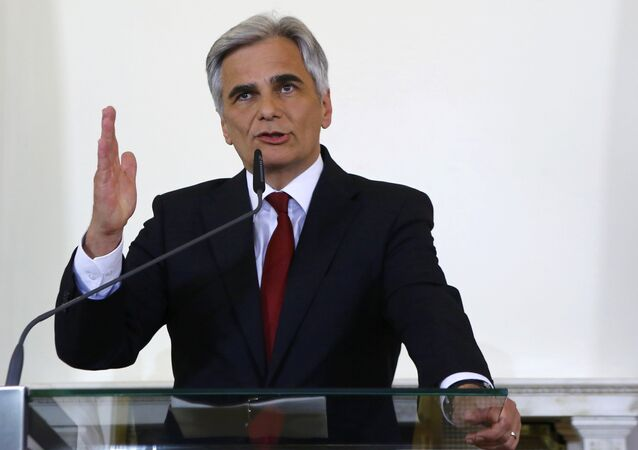 Former Austrian Chancellor Werner Faymann addresses a news conference in Vienna, Austria, May 9, 2016