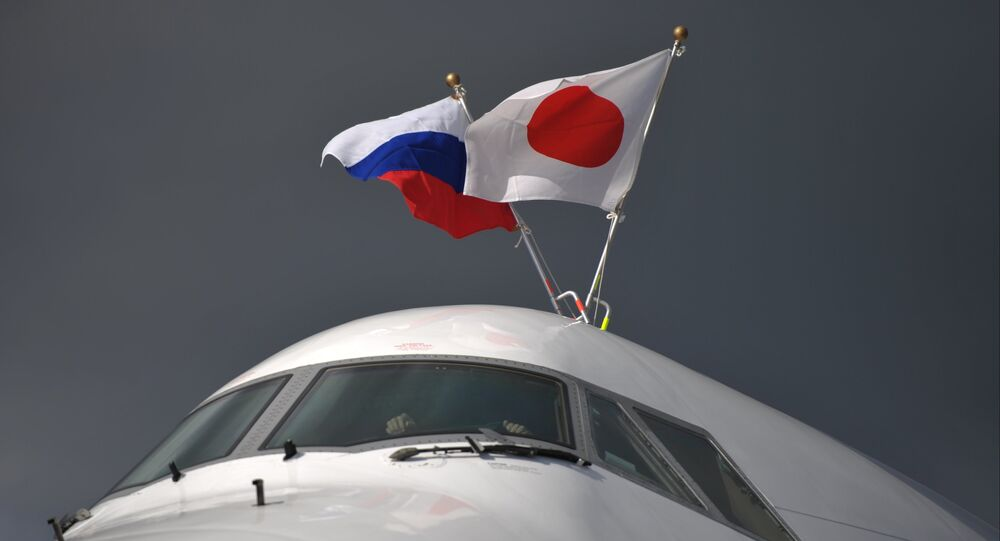 The plane of Prime Minister of Japan Shinzo Abe at Pulkovo Airport, St. Petersburg