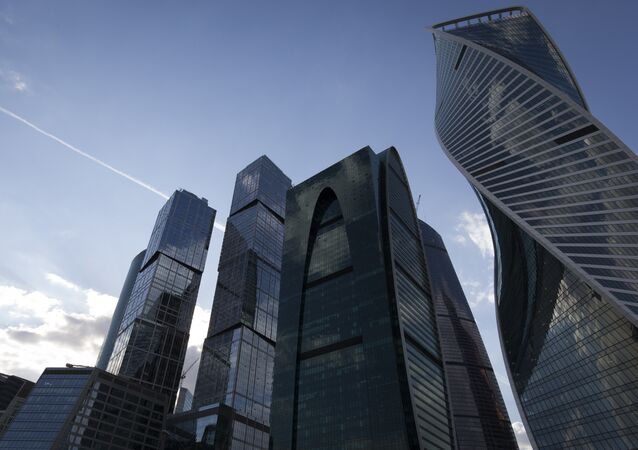 Buildings of the commercial district Moscow International Business Center are pictured in central Moscow on May 7, 2016.