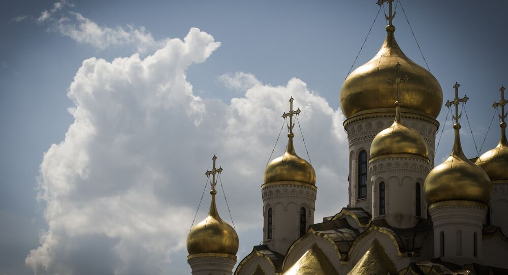 A picture taken in Moscow on May 6, 2016 shows the Russian Orthodox Cathedral of the Annunciation dedicated to the Annunciation of the Theotokos.