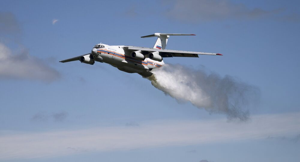 A Ministry for Emergency Situations Il-76TA Candid aircraft, one of the massive aircraft Russia uses to fight wildfires deep in the Russian wilderness.