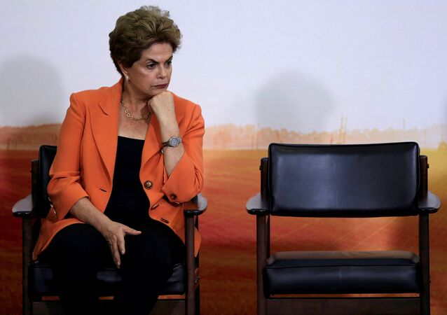 Brazil's President Dilma Rousseff reacts during a launch ceremony of Agricultural and Livestock Plan for 2016/2017, at the Planalto Palace in Brasilia, Brazil
