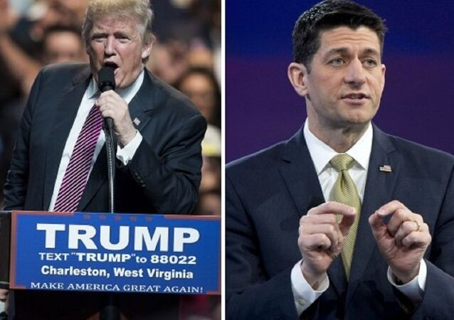 US Republican presidential candidate Donald Trump (left) and Speaker of the House Paul Ryan