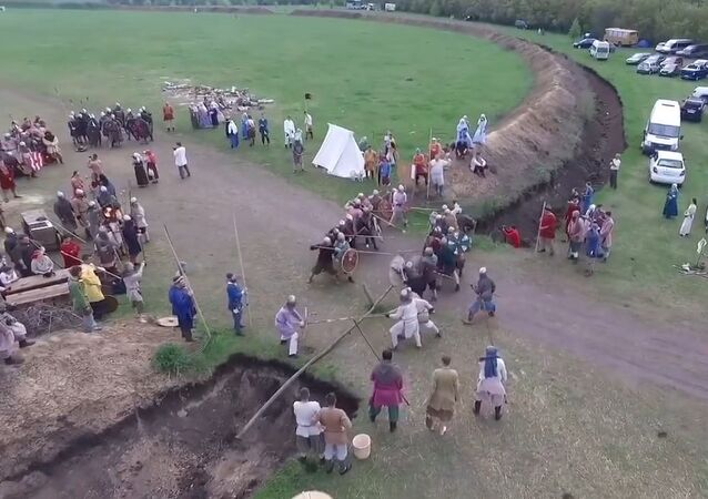 Javelin-thrower takes down drone at Russian medieval reenactment festival