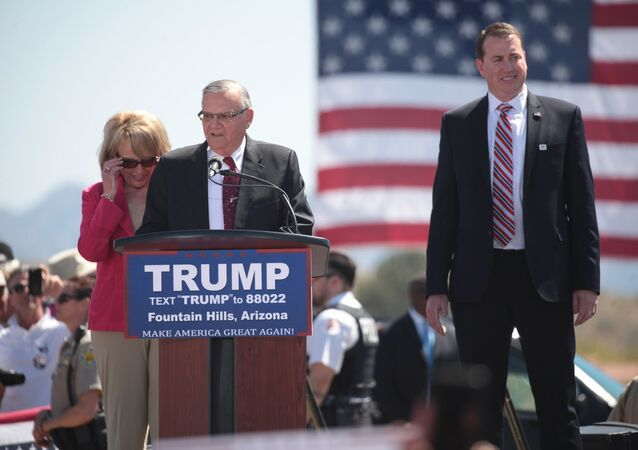 Arizona Sheriff Joe Arpaio speaking at a Donald Trump rally