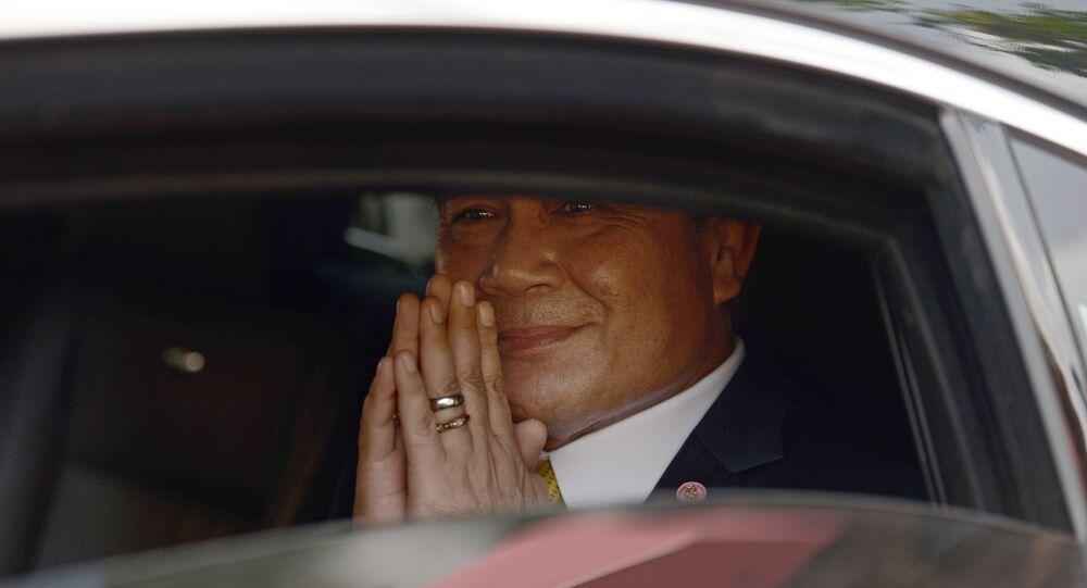 Thai Prime Minister Prayut Chan-O-Cha makes a traditional greeting