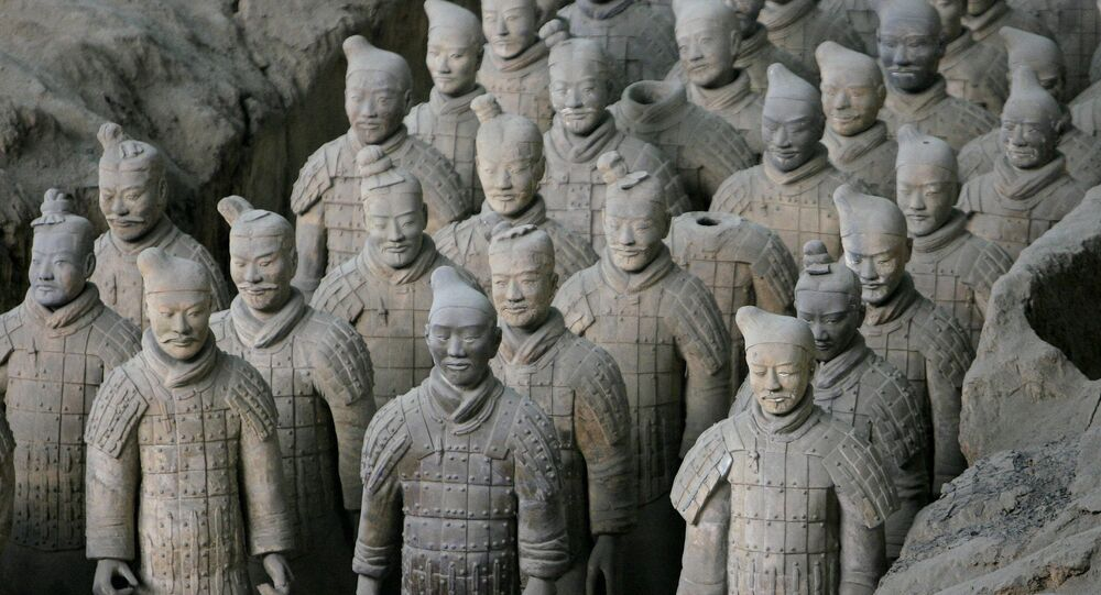 Terracotta Warriors on display at Pit 1 at the heavily-travelled Terracotta Warrior Museum on the outskirts of Xian, in northwest China's Shaanxi province