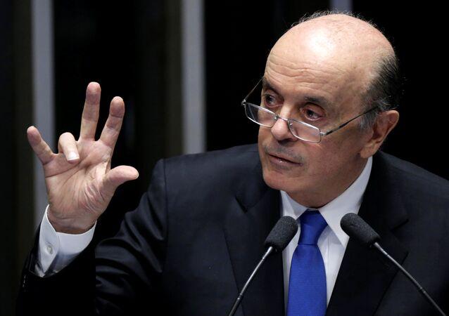 Senator Jose Serra speaks during a voting session on the impeachment of President Dilma Rousseff in Brasilia, Brazil