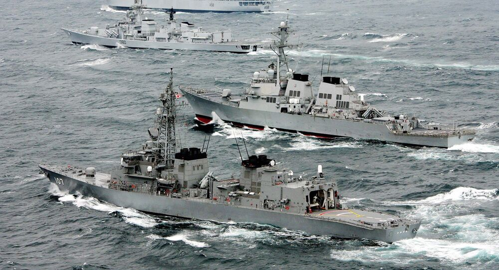 Naval ships from (Bottom to top) Japan, United States and India (tow ships) operate the first joint naval exercise in the Pacific Ocean off the coast of Japan's Chiba prefecture (File)