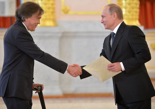 Russian President Vladimir Putin (right) and Ambassador Extraordinary and Plenipotentiary of the Austrian Republic Emil Brix (File)