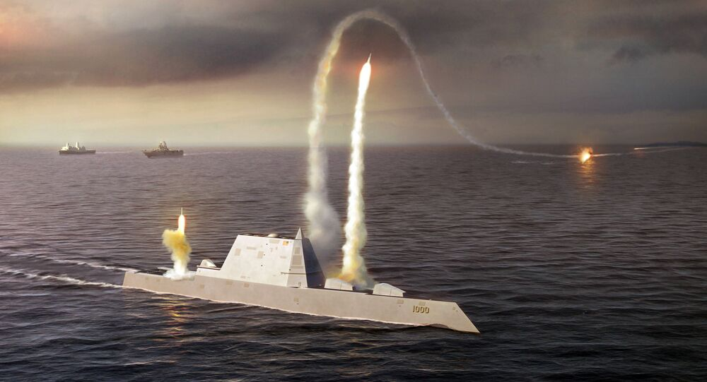 Artistic Rendering of the USS Zumwalt class destroyer DDG 1000