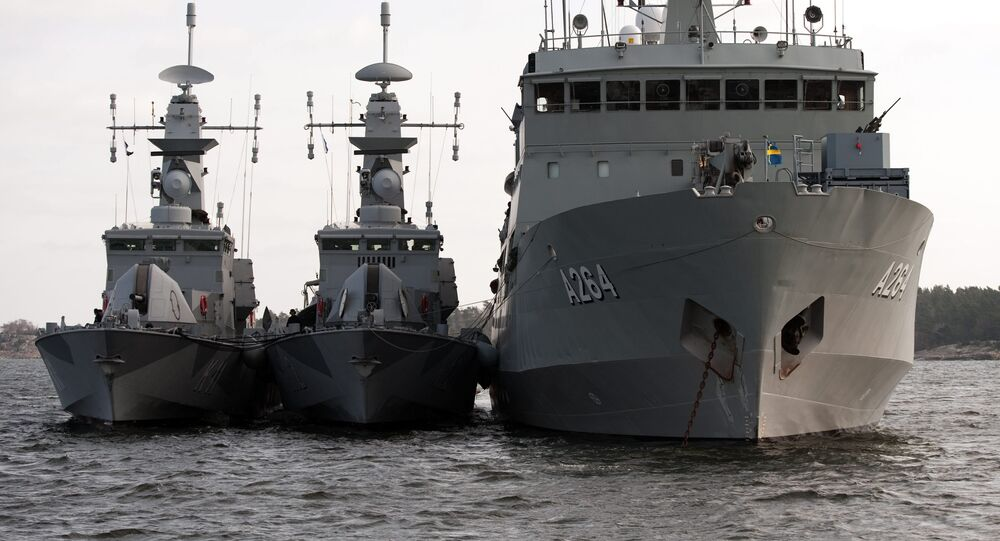 Sweden's HMS Stockholm, left, HMS Malmo and HMS Trosso, right, are seen during an exercise for Swedish ships