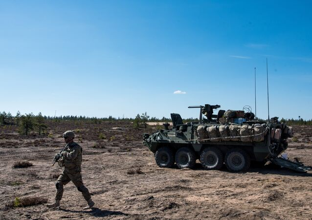 US army soldier and Stryker armored vehicle during Arrow 16 mechanised exercise of the Finnish Army in collaboration with US Army Europe's 2nd Cavalry Regiment's Mechanized Infantry Company in Niinisalo, Finland (File)
